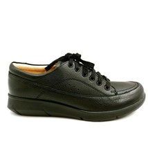 Hush Puppies Womens Dasher Mardie Leather Sneakers Lace Up Black 8.5M - $39.59