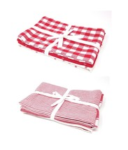 2 X Pack Of 3 Gingham Check Pinstripe Red White 100% Cotton Kitchen Tea Towels - $32.55