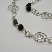 NECKLACE THE ALUMINIUM LONG 88 CM WITH CHALCEDONY QUARTZ WHITE PEARLS image 6