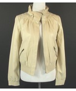 NWT Pearlized Cream Leather Size S Ruffle Collar Bomber Jacket - $49.00
