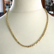 """18K YELLOW GOLD CHAIN NECKLACE 4 MM BIG DIAMOND CUT SQUARE ROPE LINK, 19.70"""" image 5"""