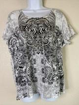 Zenergy By Chico's Womens Size 3 Boho Paisley Graphic T-Shirt Short Sleeve - $19.80