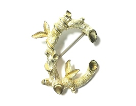 Sarah Coventry Rustic Twig Initial C Goldtone Brooch - $22.95