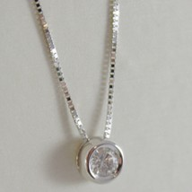 18K WHITE GOLD NECKLACE WITH DIAMOND 0.08 CARATS, VENETIAN CHAIN MADE IN ITALY  image 2