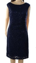 2518-2 RALPH LAUREN Navy Sequin Lace Sheath Cocktail Dress Sleeveless 4 $169 - $37.28