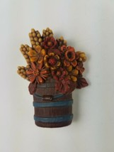 Hallmark Holiday Thanksgiving Pin Bucket Pail Full with Fall Flowers - $9.65