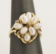 VINTAGE ESTATE Jewelry 14kt YELLOW GOLD PEARL DIAMOND COCKTAIL RING SZ 6... - $285.00