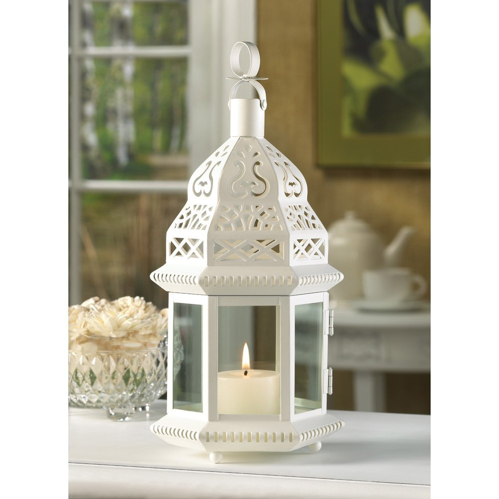 White Lantern Candle, Iron Moroccan Style Metal Lanterns For Candles - Outdoor