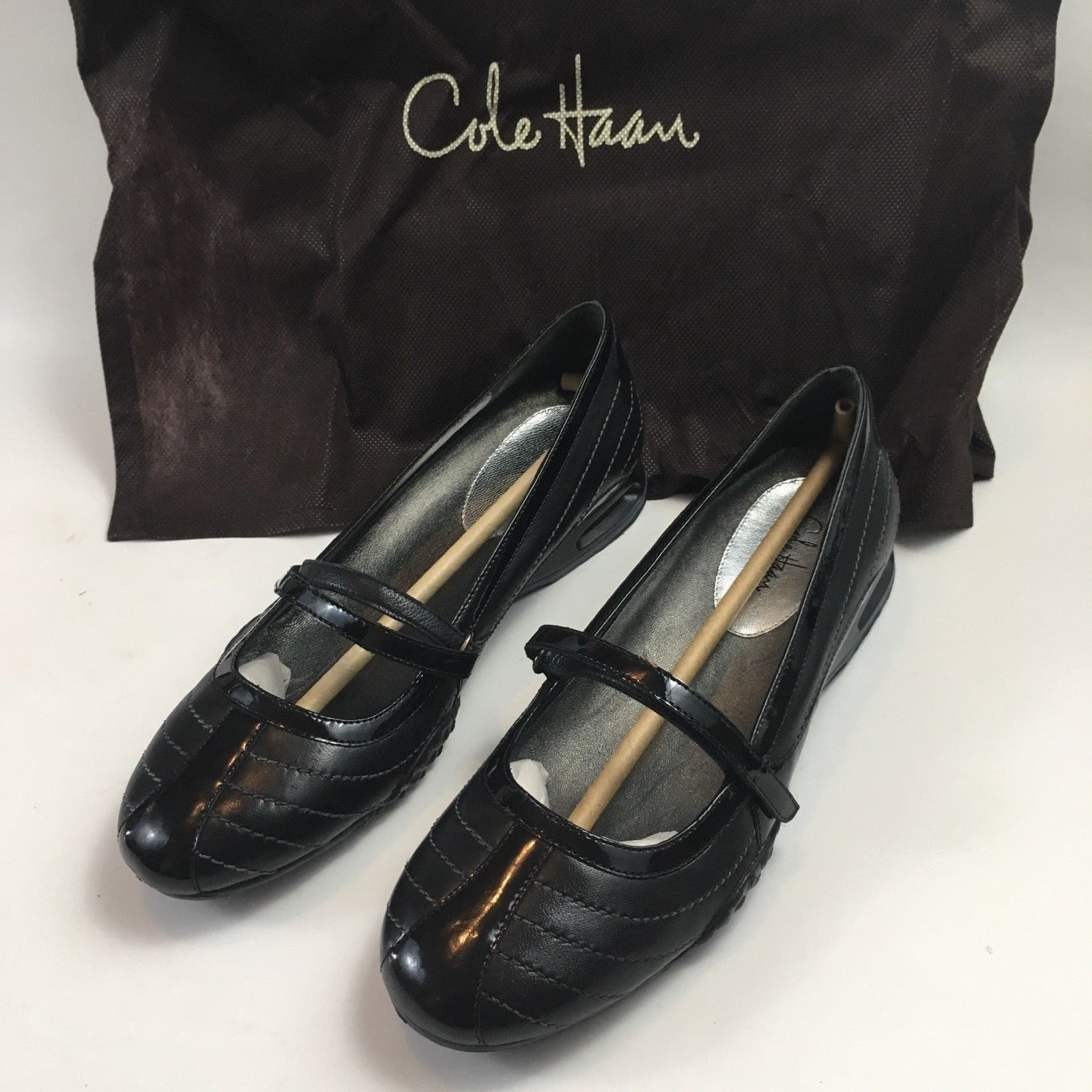 COLE HAAN Womens Sz 6.5 Air Bria Stch Black Mary Jane Ballet Flat MSRP $168