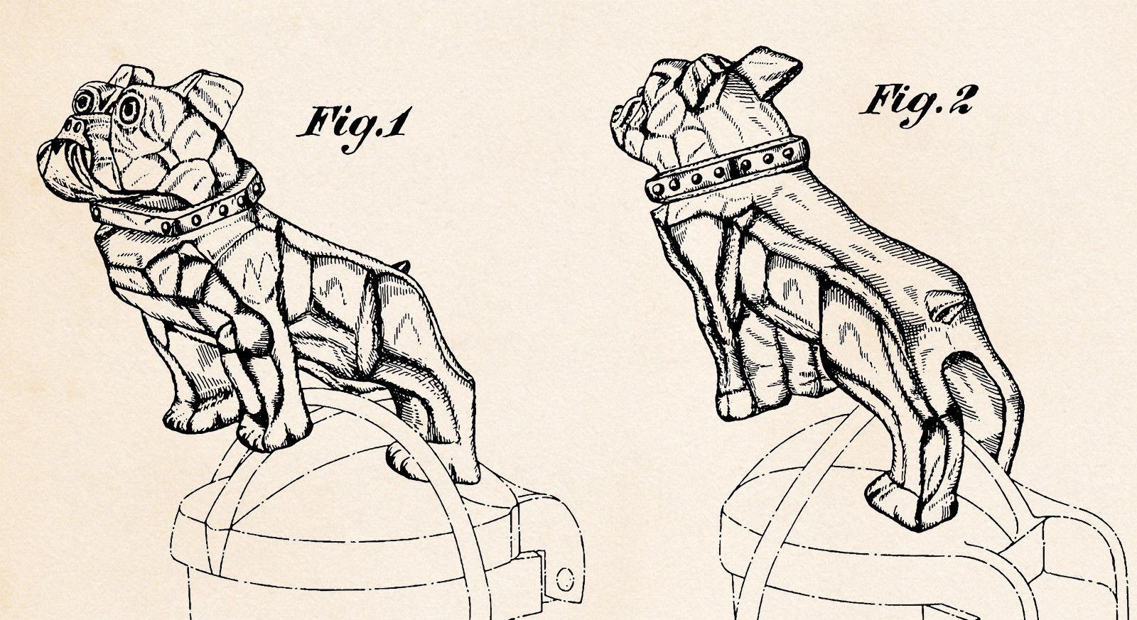 1932 Mack Truck Bulldog Hood Ornament Mascot Emblem Radiator Cap Patent Gifts