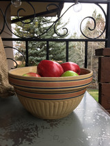 Vintage Stoneware Bowl With Blue and Pink Stripes -  Antique Yellow Ware... - $29.99