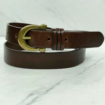 Charter Club Brown Vintage Thick Genuine Leather Belt Size Large 32 34 - $23.26