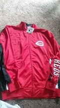 New Mens Mlb Cincinnati Reds Track Jacket Red Zip Up Size Xlt Baseball Coat - $39.77