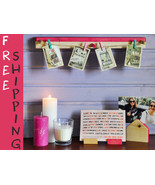 Set of Modern Pink & Natural Wood Picture or Photo Holders, Great Party ... - $19.99