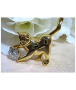 Playful Kitty Cat w/Rhinestone Ball Brooch/Pin - $4.99