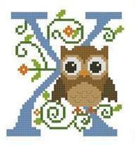 Hooties Alphabet X cross stitch chart Pinoy Stitch