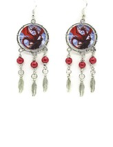 Red Dragon Drop Dangle EARRINGS With Red Pearl Accents Western Fashion - $11.87