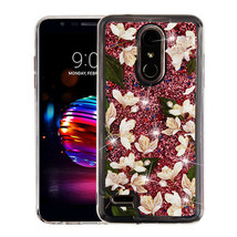Sally Flower & Rose Gold Quicksand Glitter Hybrid Cover for LG K30/Premi... - $11.07