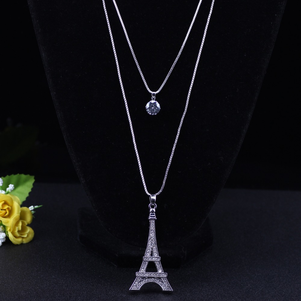 Chain 2017 New Colorful Crystal Eiffel Tower Building necklace Lock Pendant Allo image 2
