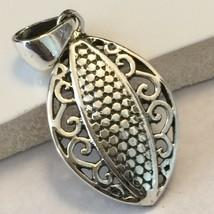 Victorian Intricate Filigree 925 Solid Sterling Silver Filigree Pendant ... - $25.73