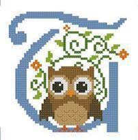 Hooties Alphabet T cross stitch chart Pinoy Stitch