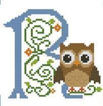 Hooties Alphabet R cross stitch chart Pinoy Stitch