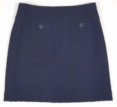 Mossimo Womens Size 6 100% Cotton Dark Navy Lined Mini Skirt Side Zipped... - $4.99