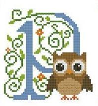 Hooties Alphabet P cross stitch chart Pinoy Stitch
