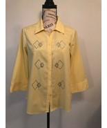 LAS OLAS Women's Diamond Rhinestones Yellow Shirt Blouse, 3/4 Sleeve Size S - $0.98