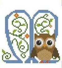 Hooties Alphabet M cross stitch chart Pinoy Stitch
