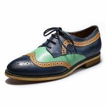Handmade men s multicolor leather shoes wingtip multicolor dress leather shoes thumb200