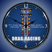 New hot rod car DRAG RACING you wouldn't understand LIGHTED game room clock - $129.95