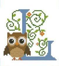 Hooties Alphabet L cross stitch chart Pinoy Stitch
