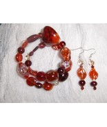 Torch Red Glass and Ceramic Bead Handmade Gypsy Bracelet and Earring Set - $8.00
