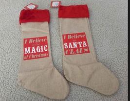 Burlap Christmas Stocking Set Rustic Believe In Magic of Santa and Chris... - $5.93