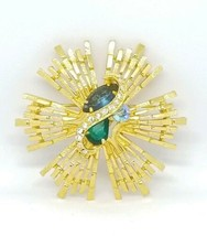 Crown Trifari Blue Green Rhinestone Rare Starburst Pin Brooch - $98.99