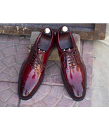 Handmade Lace Up Brogue Burgundy Patent Leather Shoes For Men - $159.97 - $169.97