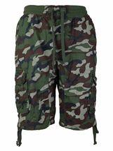 LR Scoop Men's Elastic Waist Drawstring Multi Pocket Cotton Cargo Shorts CJS-80 image 5
