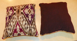 Pair of Purple Cream Abstract Print Throw Pillows  10 x 10 - $29.95