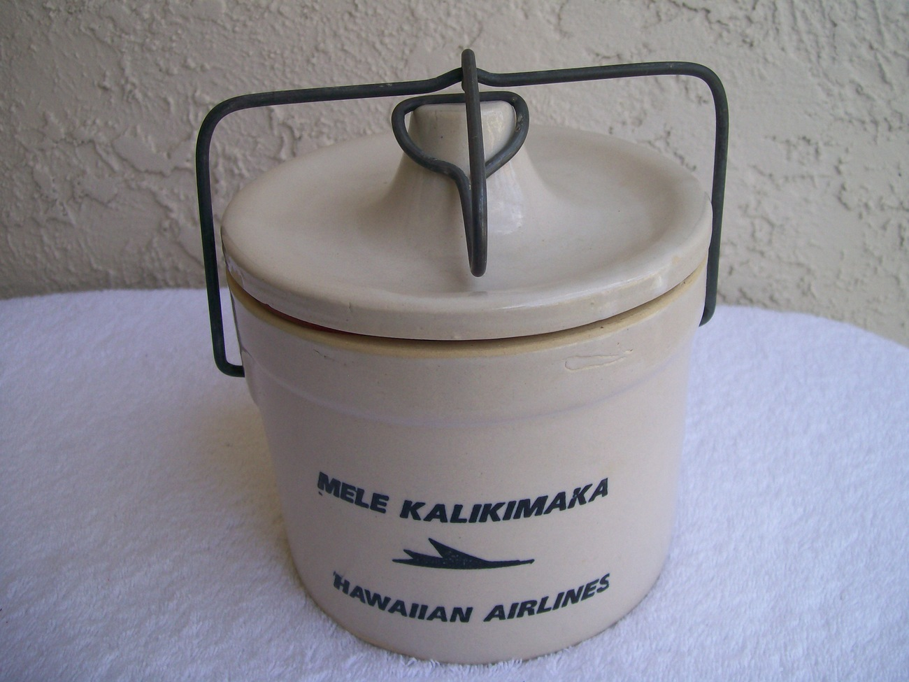 Hawaiian Airlines Mele Kalikimaka Vintage 60's Cheese 1.5Q Crock