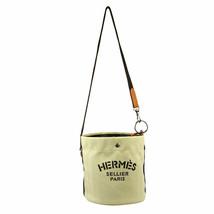HERMES Sac De Pansage Shoulder Bag □L A R Ivory Brown Toile H Leather image 2