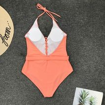 Woman V-Neck One Piece Swimsuit Sexy Bathing Suit Lace Up Halter Swimwear Suit image 8
