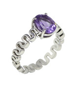 Vintage 0.27 Ctw Amethyst Gemstone 925 Fine Silver Infinity Design Stack... - $18.78