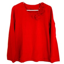 Denim & Co. Women's Small Shirt Red Long Sleeve Casual Floral Applique Tunic Top - $14.98