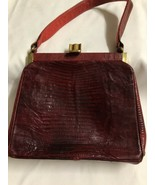 Vintage 40s 50s BELLESTONE RED Genuine  LIZARD  HANDBAG PURSE  - $51.08