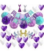 Mermaid Birthday Party Supplies, Mermaid Party Decorations for Girls Bir... - $13.89
