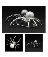 """SPIDER BROOCH 2.25"""" White or Gray Faux Pearl Crystal Rhinestone Pin Hall... - $11.95"""