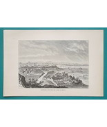 SPAIN View of Barcelona - 1881 Antique Print Wood Engraving - $20.25