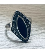 Estate 925 Marked Long Black Onyx Marquise Stone Rimmed in Marcasite Art... - $32.58
