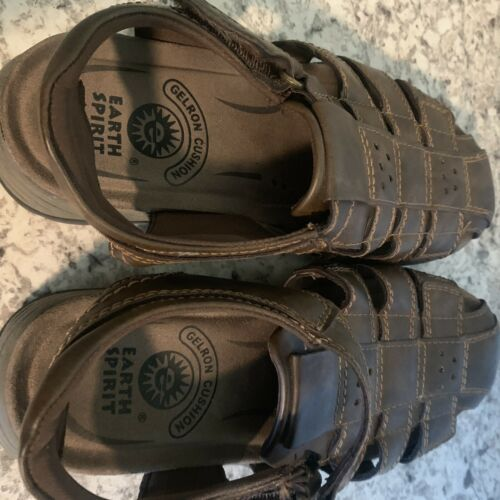 EARTH SPIRIT Fisherman Sandals Brown Leather Comfortable Gelron 2000 Mens 8
